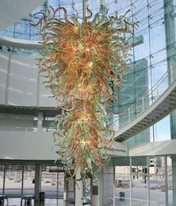 Hot Sale Große Glasleuchter Beleuchtung-Hotel Anhänger-hängendes Lampe European High Ceiling Hand geblasenem Glas Kronleuchter mit LED-Birnen
