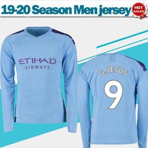 Camisetas de fútbol local 2020 Long Sleeves City 19/20 Adulto azul # 9 G.JESUS # 10 KUN AGUERO # 19 SANE camisetas de fútbol Uniformes de fútbol de manga completa