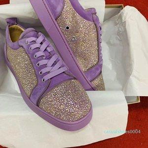 Супер высокая Quality1.1 Женщины Мужчины Rhinesstone Red Bottom Sneaker Strass обувь Low Cut из натуральной кожи Свадеб Повседневная обувь AC04
