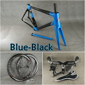 Mavi Siyah Colnago C60 karbon yol çerçeve Gidon Eyer Su şişesi kafesler 50mm karbon jantlar Model Novatec A271 ücretsiz nakliye hub