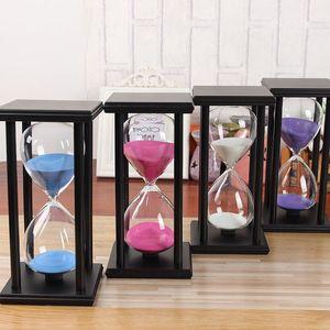 10/15/20/30/45/60 Minuti Hourglass Timer da cucina Modern School ore di legno Sandglass Sand Clock Tea Timer regalo a casa Decorazione Vetro