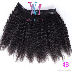 Hot Selling 160g Natural Color Clip Ins Peruvian Virgin Human Hair 4A 4B 4C Afro Kinky Curly Clip In Hair Extensions