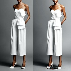 2020 vestidos de boda simple mono de novia de longitud de té playa vestido de novia vestido de novia barato de Boho Vestidos de boda