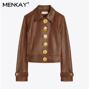 [MENKAY] Oro de un solo pecho de manga larga de cintura alta Cuello vuelto Pu Cuero sintético Chaqueta marrón Abrigo Mujer Streetwear Nuevo