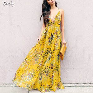 Casual Women Dress Autumn Sexy V Neck High Waist Spaghetti Strap Pullover Floral Backless Print Polyester Girls Fashion Dress