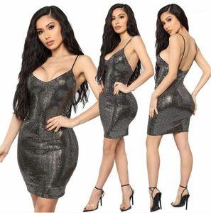 Designer Womens Dresses Spaghetti Strap Sleeveless Laides Dresses Sexy Club Womens Clothing Slim Black Sequins