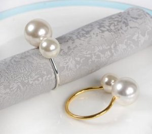 Metal Pearl Napkin Ring Double Pearl Napkin Holder Gold Silver Napkin Rings Table Decoration 12pcs/lot