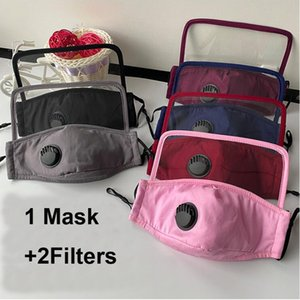 DHL Shipping 2 in 1 Face Shield Mask With Valve Anti Dust Face Masks Face Protection Anti Fog Washable Mouth Protective Mask X263FZ