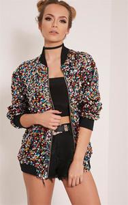 Womens Designer Sequins Jacket Fashion Casual Autumn Spring Loose Pilot Jacket Womens Clothing