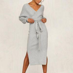 Vertvie 2019 Nueva vestido de suéter que hace punto de las mujeres del otoño del invierno de Split profundo escote en V Vestido tubo delgado apretado atractivo de señora Streetwear