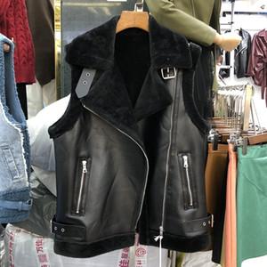 Yeni tasarım kadın çift yüzlü taklit kürk PU deri kolsuz ceket ceket kısın yaka kısa yelek casacos