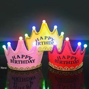LED di compleanno protezione di parte superiore Glowing 5 lampada Corona Cappello Re Crown Princess Copricapo Buon Compleanno Decorazioni del partito glitter Corone GGA2960-1