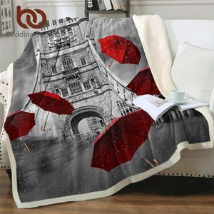 BeddingOutlet Red Umbrella Sherpa Blanket Tower Bridge on River Thames Bed Blanket Romântico Lance Cama Inglaterra Londres