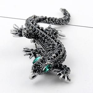 Kristal Vintage Lizard Broş İçin Kadınlar Takı Metal Emaye iğneler Erkekler Suit broş hayvan giyim aksesuarları