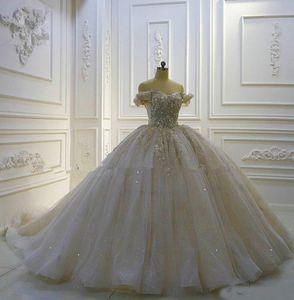 2020 Luxurious ombro Off bola vestidos de casamento Vestido de lantejoulas apliques florais 3D Catedral Vestido de Noiva Lace Up do vestido de casamento do vintage