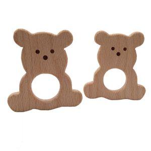 Baby Collane Room Lovely Cartoon Wood L'orso Teether Giocattoli di legno a forma di fai da te Collana di faggio triangolare piatto