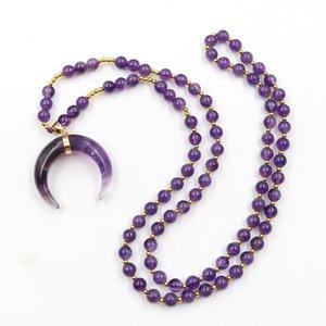 5 pièces uniques longues perles chaîne Collier Corne Forme labradorite Pendentif Pierre Lapis Lazuli Bijoux en or plaqué