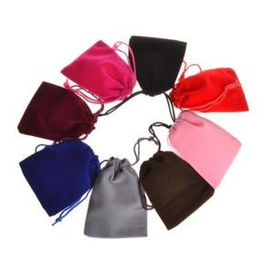 크리스마스 / 웨딩 호의 7x9cm에 대한 그레이 레드 블루 벨벳 벨벳 졸라 매는 끈 선물 보석 포장 가방 파우치