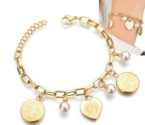 New Style Christian Titanium Plating Edelstahl 19cm Gold-Anhänger-Charme-Armbänder, Schmücken Perlen Schlüsselanhänger Schmuck