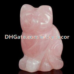 """10 Unids Al Por Mayor 1.5 """"/ 2"""" Pequeño Natural Rosa Rosa Cuarzo Piedra Preciosa Cristal Tallada A Mano Adorable Gato Estatua Estatuilla Animal Artesanía Decoración para el hogar"""
