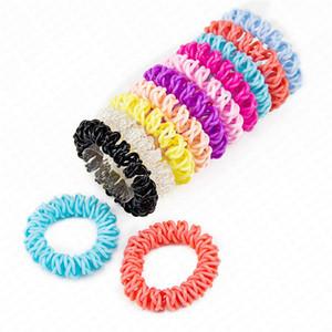 Kadın 5.5cm Elastik Plastik Saç Bantları Kauçuk Halatlar Saç Halka Kızlar Saç Aksesuarları D62801 için üç Çapraz Telefon Tel Kordon Headbands