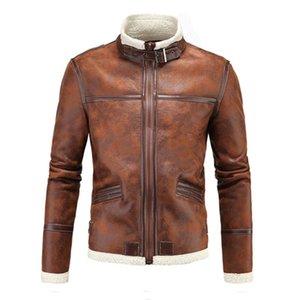 Мотоцикл куртки Мужские кожаные куртки Pu Урожай ретро Zipper Байкер Punk Классическая ветрозащитный Кожезаменитель Moto Jacket Размер M-4XL