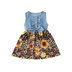 Pudcoco 2020 Newly bonito O bebê caçoa Girls Dress Bowknot Girassóis leopardo Denim Patchwork mangas A-Line Vestido