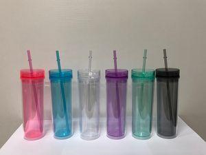 Caneca 16OZ magro Tumbler Acrílico copos de parede dupla de plástico transparente TumblersTravel Com Palha gratuito e LidA08