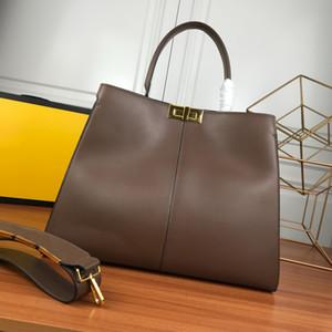 Große Kapazität Paket Einkaufstasche Tragebeutel Qualitäts-Geldbeutel schlicht Rind echtes Leder Breite Schulterriemen Frauenhandtaschen