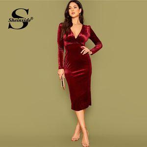 Sheinside Zarif Derin V Yaka Wrap Parti Elbise Kadınlar 2020 İlkbahar Burgonya Kadife Kalem Elbiseler Bayanlar Katı Midi Elbise