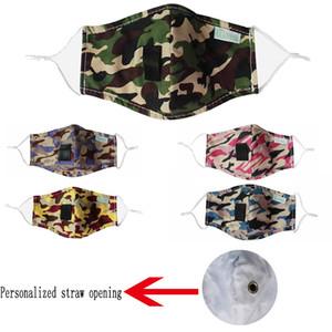 Moda camuflaje de la mascarilla a prueba de viento Máscaras anti-vaho de oreja ajustable correas reutilizable lavable ciclismo Máscara de apertura de paja personalizada
