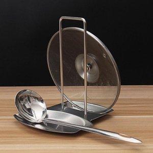 ملعقة غطاء الفولاذ المقاوم للصدأ ملعقة الاستراحة المقلاة Stand Pot Cover Rack Kitchen Tool New