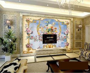 нестандартный размер 3d фото обои гостиной росписи европейский роялти узорной мраморная картина диван тв фоне обои нетканый стикер