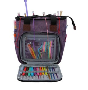 Sac à tricoter Laine Portable fil Crochets vide Stockage couture Aiguilles à coudre Organisateur tricot sac de rangement poche Organisateur KKA7959
