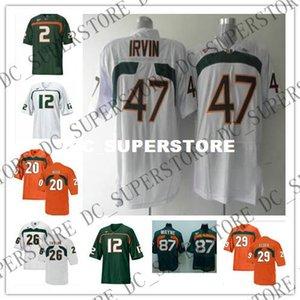 Maglie da calcio personalizzate Miami Hurricanes 2 Jon Beason 12 Jacory Harris 20 Ed Reed 26 Sean Taylor 47 Michael Irvin 87 Reggie Wayne