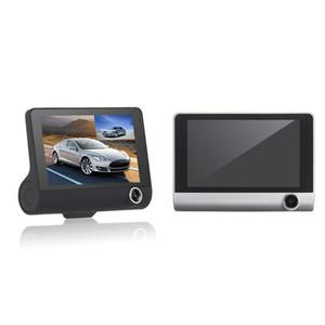 """4 """"화면 자동차 DVR 트리플 카메라 레코더 구동 비디오 dashcam FHD 1080p 비디오 3CH 앞 뒤 170 ° 140 ° 120 ° 내부 야간 G 센서"""