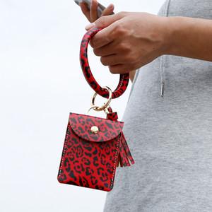 Bangle Bracelet Card Bag Wallet Keychain Wristlet Keyring Leopard Handbag Leather Bracelet Keychain Credit Card Holder with Tassel VT1510