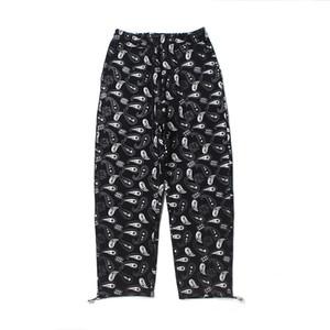 Polaire imprimé fleurs Hommes Pantalon en vrac avec cordon de serrage Joggers Shrink Feet High Street Pantalones Hombre Pantalons