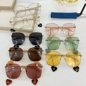 Newest GG0721S Love-heart Pendant Sunglasses for Women UV400 60-18-135 Metal Chain Leg+Detached Pedant decoration fullset Case