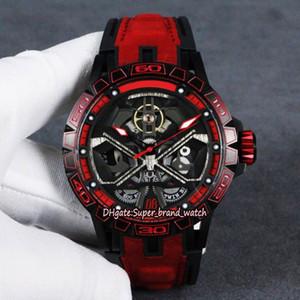 Melhor versão Excalibur RDDBEX0765 Skeleton Dial DLC revestido Titanium Alloy Caso Mens Mecânica relógio de couro Correia Designer relógios de luxo