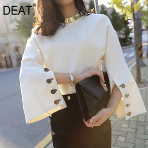 DEAT 2020 New Fashion Summer Autumn Tops Women Buttons Round Neck And Matel Two Pieces Plus Size Female AK21312xl
