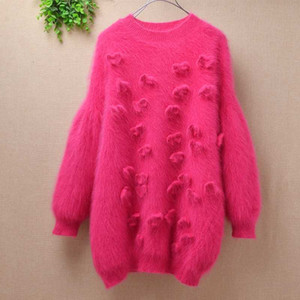 Korea vintage ladies women winter cute rose fuzzy angora  fur loose floral long puff sleeves mink knitted pullover sweater