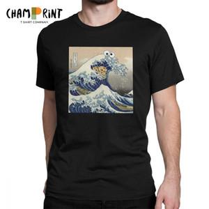 패션 쿠키 몬스터 T 셔츠 하라주쿠 웃기는 일본 쿠키 옷 카나가와 반팔 티셔츠 남성 프린트 티