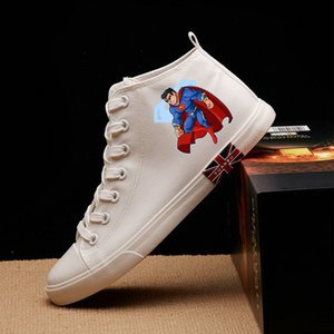Justice League Various Hero DC Cool Cartoon Printing High Heel Canvas Uppers Sneakers College Personalise Fashion Casual