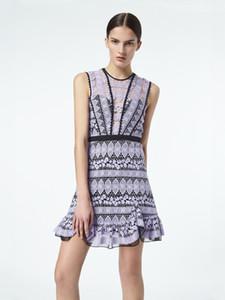 새로운 패션 2020 섹시한 새로운 도착 미니 여자 드레스 퍼플 중공 레이스 드레스 여름 우아한 파티 드레스 보브 Kneen 승무원 Vestidos