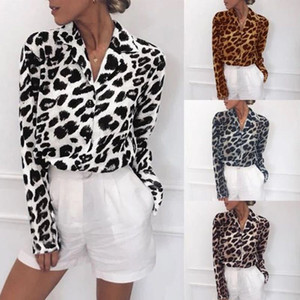 Hot-sale spring and autumn new long-sleeved casual leopard shirt printed V-neck chiffon women's top S-3XL