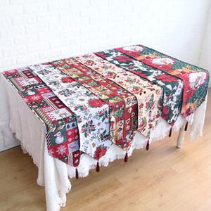 Nueva bandera de mesa de mantel largo jacquard Decoración de la bandera de mesa de Navidad bandera de mesa de Santa Claus