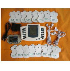 Hot Sale botão russo ou Inglês Electrical Stimulator Full Body Relax Terapia Muscle Massager, pulso dezenas Acupuntura + 16pads