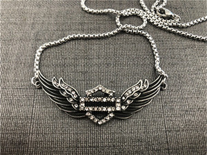 Support Dropship Motorcycles Clean Crystal Bracelet Necklace 316L Stainless Steel Biker Fashion Jewelry Lady Girls Wings Bracelet