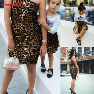 2019 Nova chegada Leopard Print meninas bonito Mãe e filha Matching Partido Magro Vestido Mamãe me veste Familiares Outfit Set